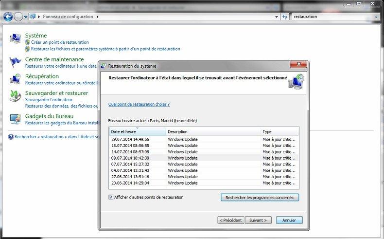 Restauration Système Windows 7