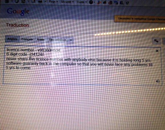 L'escroc se sert de Google Traduction pour se faire comprendre.